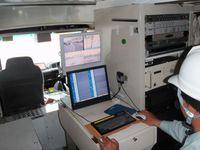 地中レーダー探査車両での測定シーン